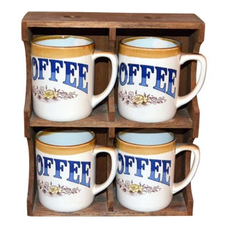 Vintage Coffee Cups & Display Rack - Set of 5