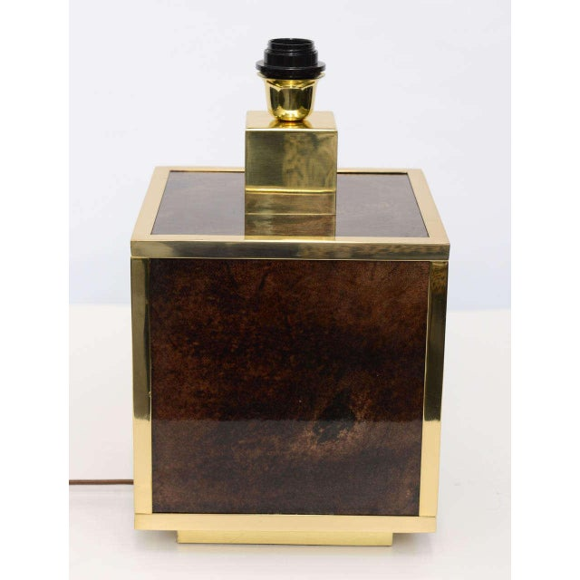 Aldo Tura Goatskin and Brass Table Lamp For Sale - Image 9 of 10