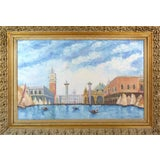 Image of Vintage Piazza San Marco, Venice Oil Painting For Sale