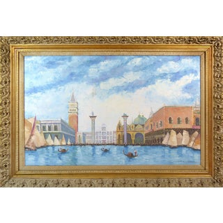 Vintage Piazza San Marco, Venice Oil Painting For Sale