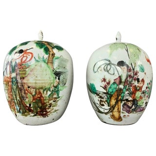 Pair of Large Chinese Famille Verte Porcelain Covered Vases, Early Republican For Sale