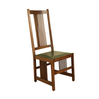 Stickley Mission Collection Oak Spindle Chair With Leather Seat For Sale