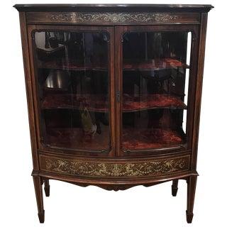 19th Century Rosewood Inlaid Vitrine Cabinet