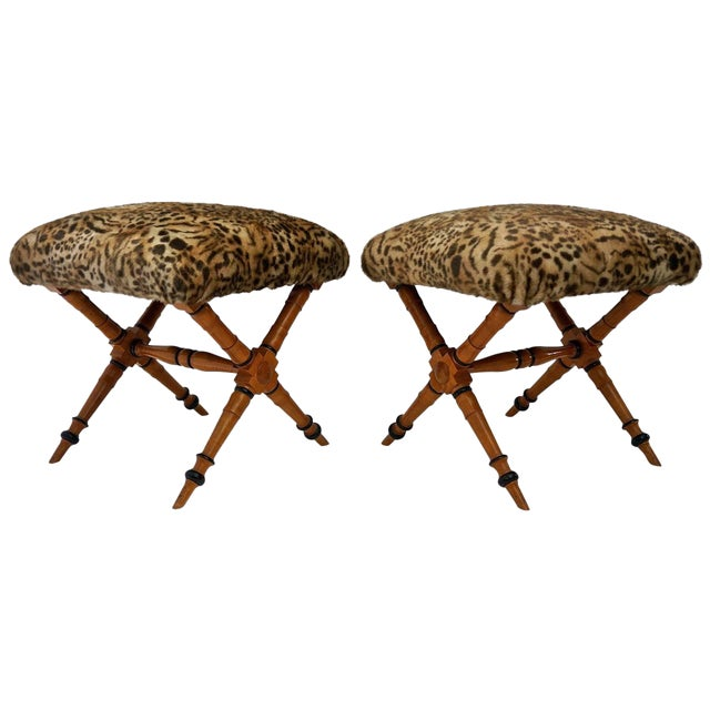 Pair of Vintage Biedermeier Style X-Stools With Faux Fur Upholstery For Sale