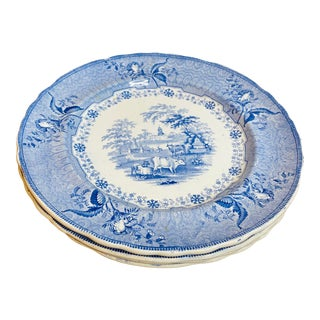 Antique Early 19th Century Staffordshire Blue and White Plates - Set of 4 For Sale