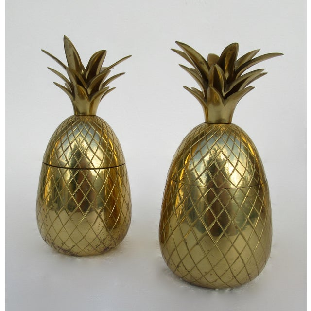 Anglo Indian Vintage Brass Lidded Pineapple Containers Dual Candle Holders - a Pair For Sale - Image 4 of 12