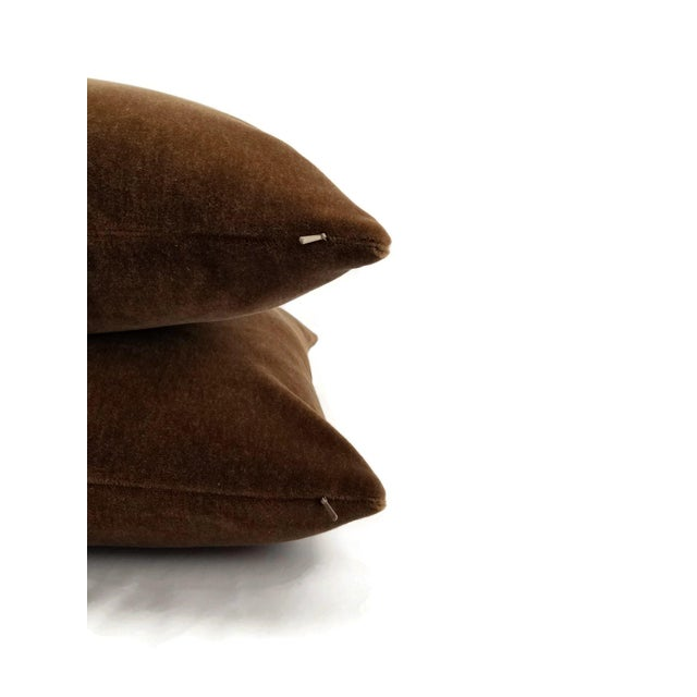 Contemporary Mohair Velvet Dark Brown Pillow Cover For Sale - Image 3 of 7