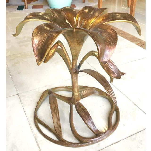Drexel 20th Century Hollywood Regency Arthur Court Lily Side Table For Sale - Image 4 of 12