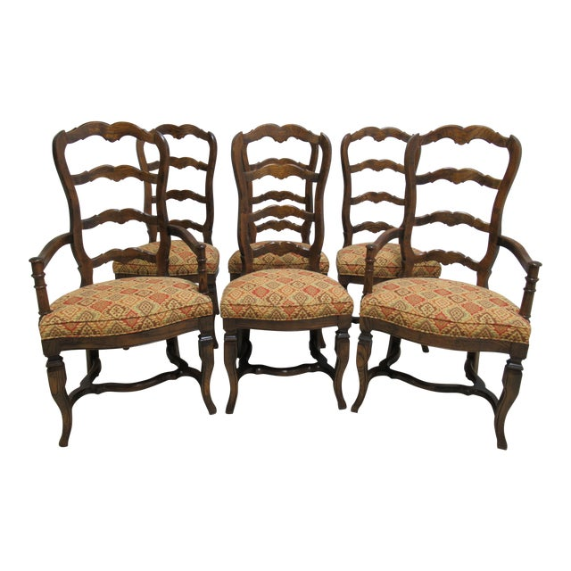 1f7f079c396 Vintage Century Furnture Country French Ladder Back Dining Chairs - Set of 6  For Sale