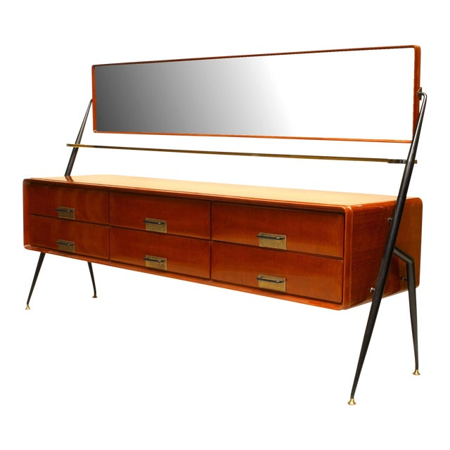 Italian 1960s Mahogany Chest With Bevelled Glass Mirror For Sale