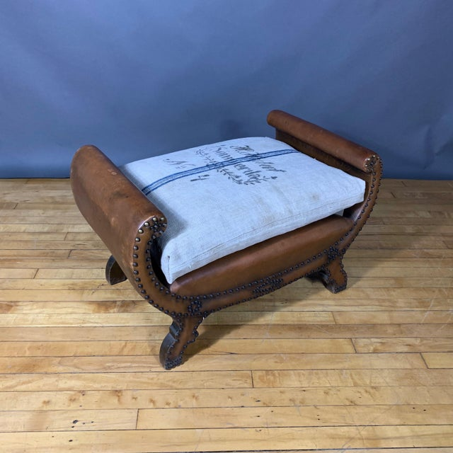 1930s Otto Schulz Leather & Grainsack Footstool, Boet, Sweden For Sale - Image 11 of 11
