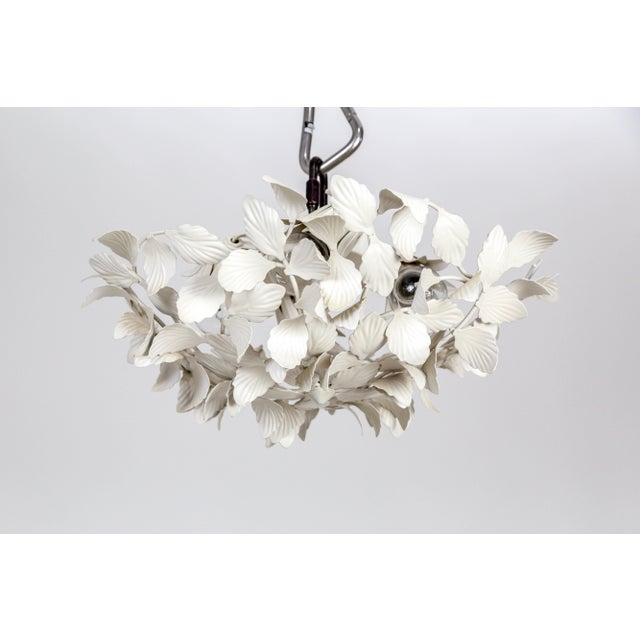 White Tole Leaf Cluster Low Relief Wall or Ceiling Lights - 3 Available For Sale - Image 9 of 9