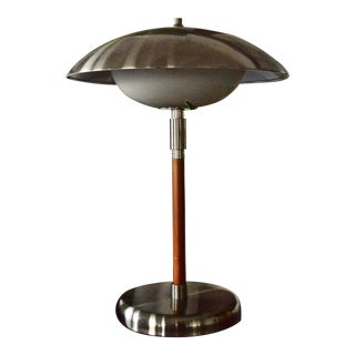 1980s Art Deco Wood and Chrome Lamp For Sale