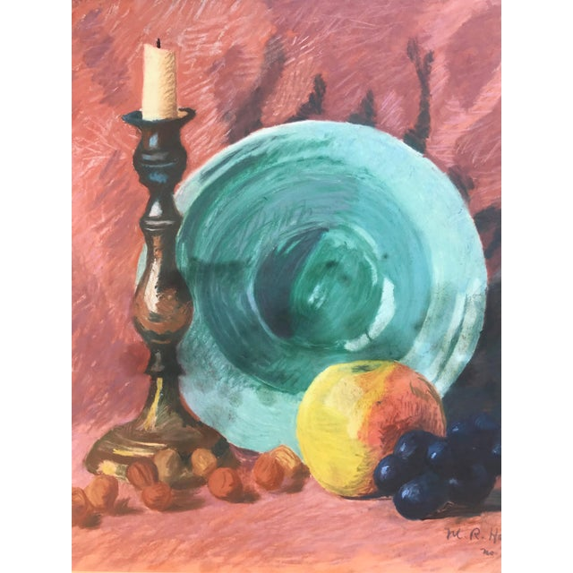 Americana Vintage Pastel Still Life by Harris For Sale - Image 3 of 6