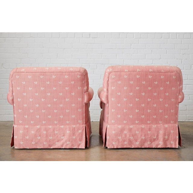 Pair of English Style Upholstered Club Chairs With Ottoman For Sale - Image 12 of 13
