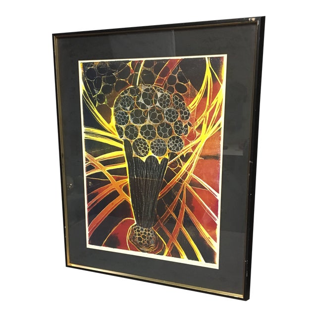 """1968 """"Surge II"""" Etching by Lucile H. Sanders, Framed For Sale"""