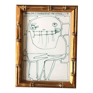 """Vintage Original Wayne Cunningham Abstract """"i Appreciate the Offer"""" Green Ink Drawing 1990's For Sale"""