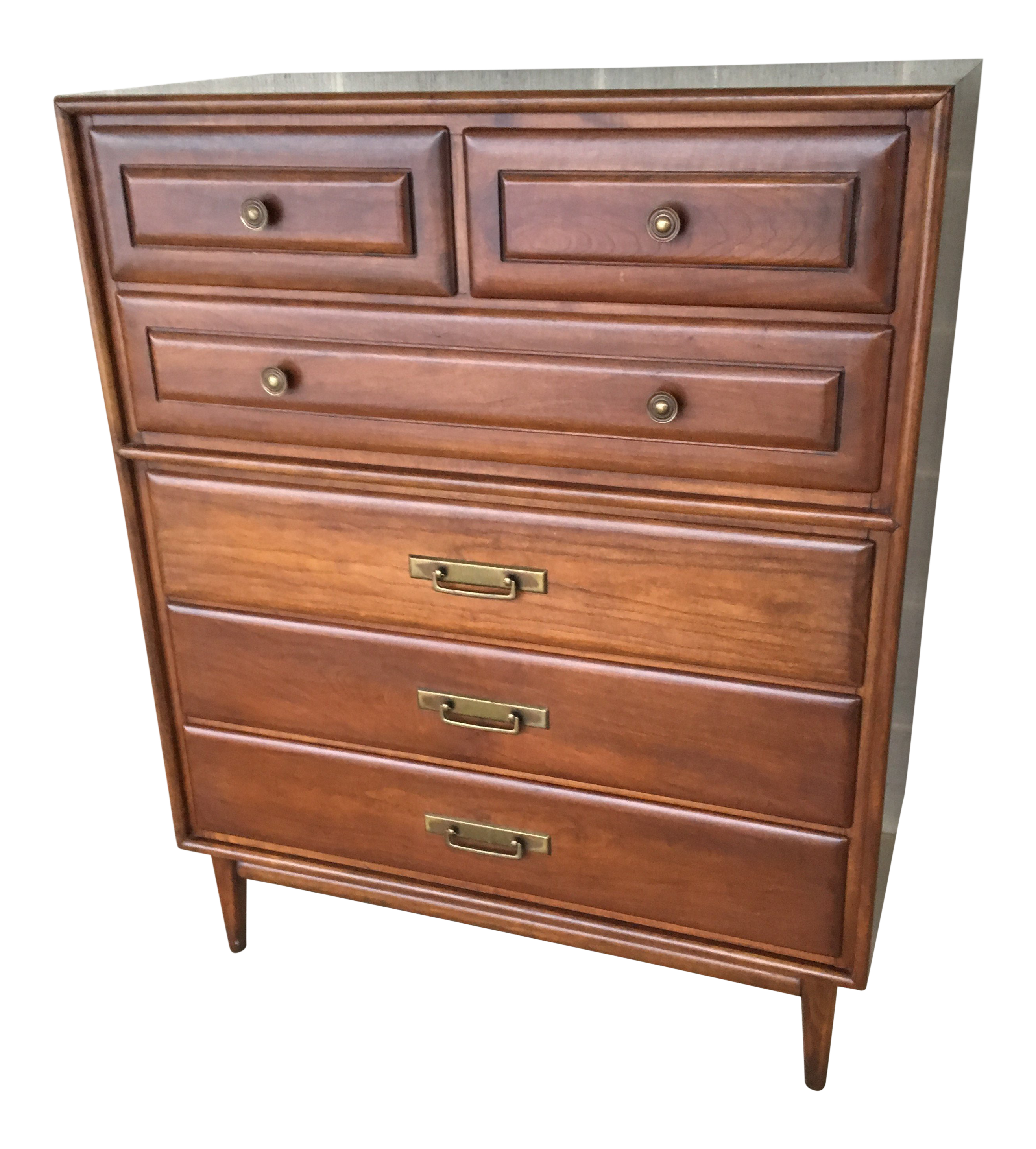 1950s Mid Century Modern Heywood Wakefield Cliff House Collection Solid Cherry High Chest Of Drawers Chairish