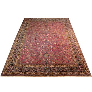 Shiraz - Early 20th Century Antique Persian Mashad Rug - 8′8″ × 11′3″ For Sale
