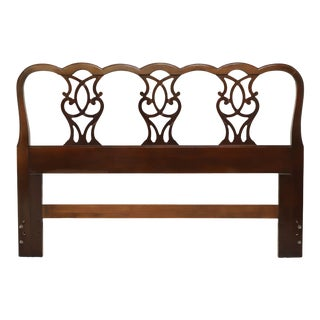Drexel Solid Mahogany Chippendale Style Queen Headboard For Sale