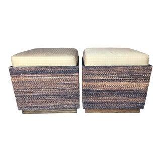 Vanguard Wicker & Wood Storage Ottomans-Pair For Sale