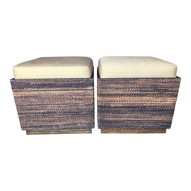 Pleasing Vanguard Wicker Wood Storage Ottomans Pair Ibusinesslaw Wood Chair Design Ideas Ibusinesslaworg