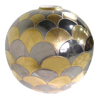 Vintage Bellini Italy Fish Scale Metallic Gold and Silver Mirrored Ceramic Vase For Sale