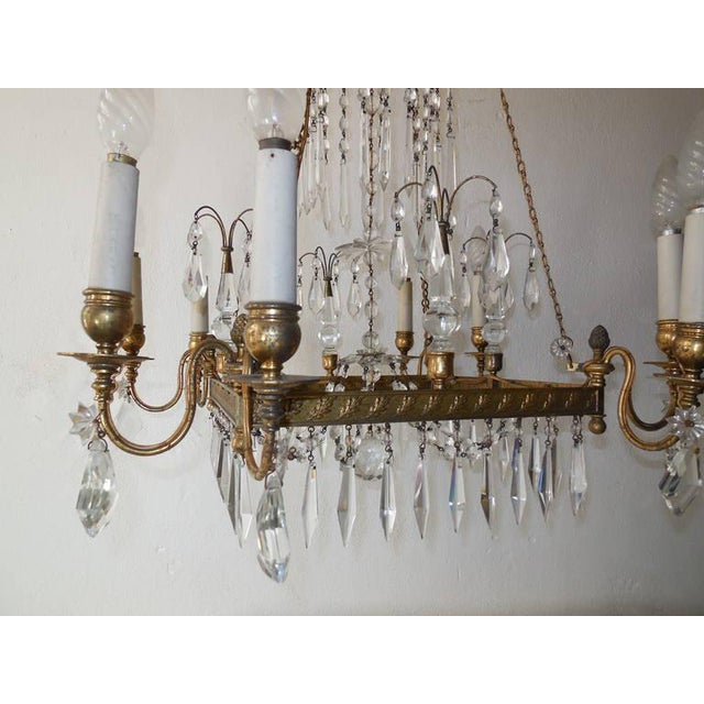 19th Century French Neoclassical Crystal and Bronze Chandelier with Spears For Sale - Image 6 of 11