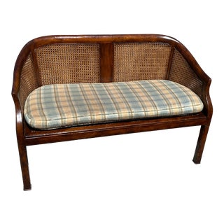 Johnathan Charles 2 Seater Caned Walnut Settee with Curved Backing For Sale