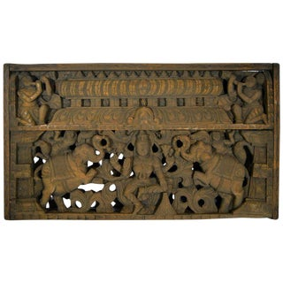 Antique Indian Hand-Carved Sheesham Religious Temple Plaque, Early 20th Century For Sale