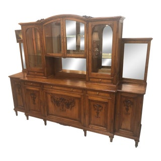 Antique 19th Century Red Oak Breakfront For Sale