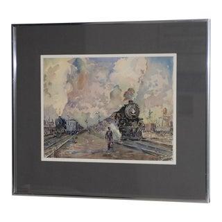 "Original ""Train Yard Worker"" Watercolor Painting For Sale"