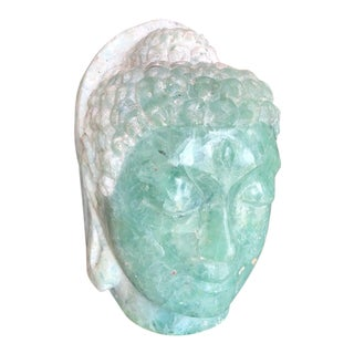 1970's Jade and Glass Buddha Head Statue For Sale