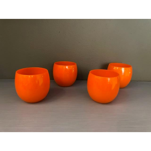 Glass Mid-Century Hand Blown Orange Cocktail Glasses - Set of 4 For Sale - Image 7 of 7