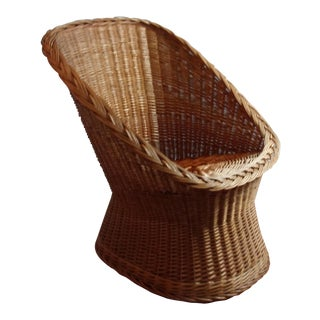 Mid Century Wicker Chair Cocoon Shape For Sale