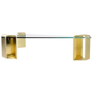 1970s Mid-Century Modern Stunning Solid Brass Cocktail Table by Lorin Marsh For Sale