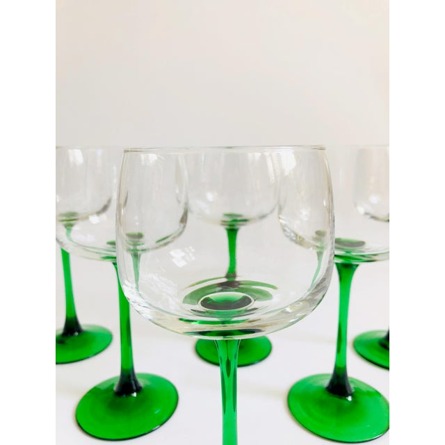 Vintage Green Stemmed Wine Glasses - Set of 6 For Sale - Image 4 of 6