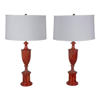 Pair of Red Alabaster Lamps For Sale