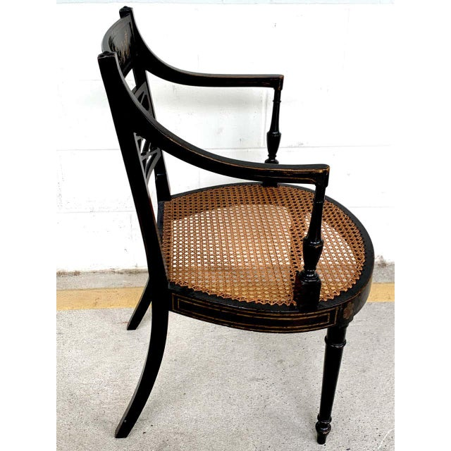 Wood Regency Black and Polychrome Cane Seat Armchairs - a Pair For Sale - Image 7 of 10