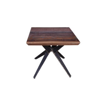Faunia Wooden End Table, Side Table for Living Room, Square, Wood and Metal, Accent Home Furniture, Wooden Top- Natural For Sale