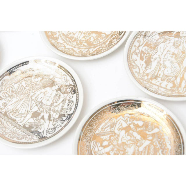 """Complete Set of Eight Italian Fornasetti Gilded Porcelain """"Mitologia"""" Coasters For Sale In Miami - Image 6 of 10"""