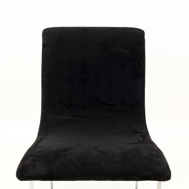 Milo Baughman for Directional Mid Century Black Velvet Chrome Base Lounge Chairs - a Pair For Sale - Image 10 of 11