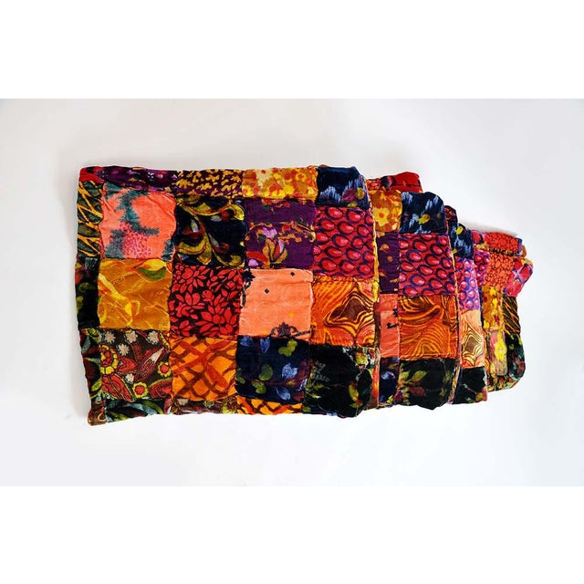 Vintage Boho Quilted Velvet Bedspread - Image 6 of 10