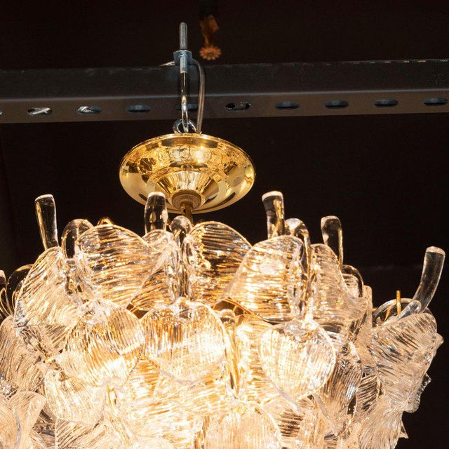 """1970s Mid-Century Modern """"Leaf"""" Handblown Glass With Brass Fittings Chandelier by Camer For Sale - Image 5 of 9"""