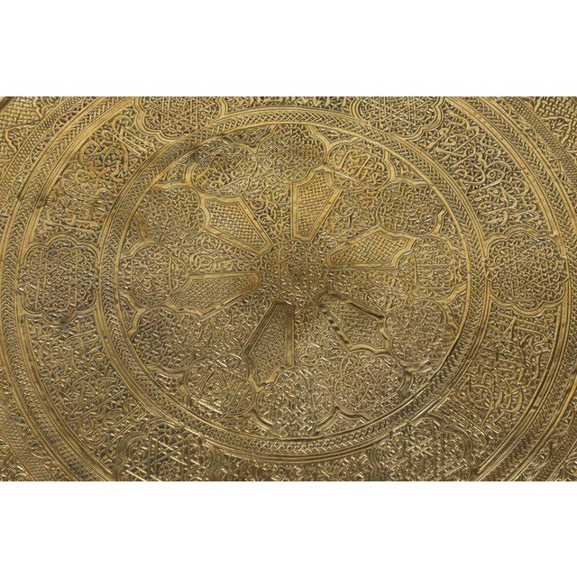Middle Eastern Syrian Antique Brass Tray Table on Gilt Iron Stand For Sale - Image 4 of 9
