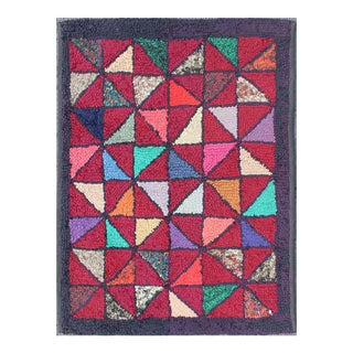 Checkerboard Vintage American Hooked Rug With Geometric Designs For Sale