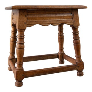 19th Century English Oak Joint Stool For Sale