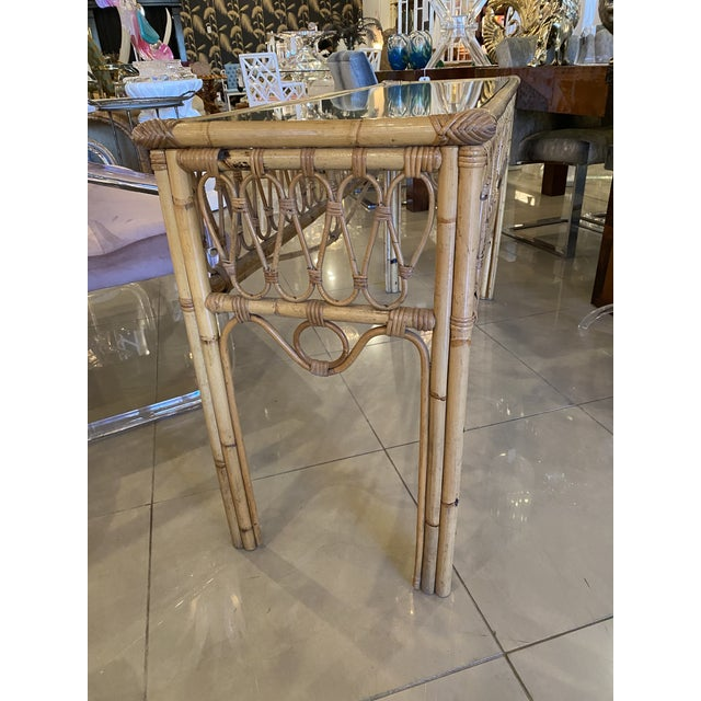 Hollywood Regency Vintage Tropical Palm Beach Rattan Glass Top Console Sofa Table For Sale - Image 3 of 12