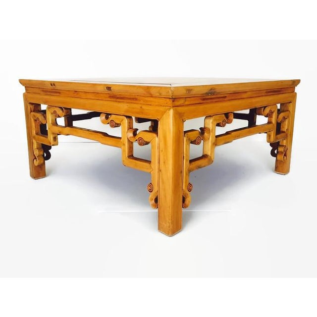 Gorgeous vintage wood carved Chinese coffee table. Tibetan style large cube table with amazing fretwork and carvings at...