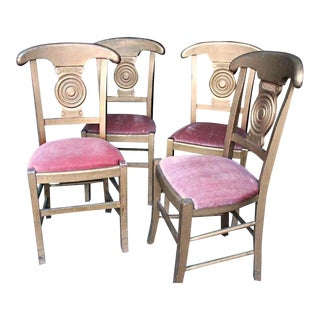 Antique Art Deco Gilt Wood Dining Chairs - Set of 6 For Sale
